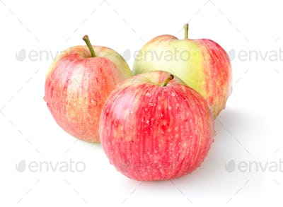 Three ripe apples isolated