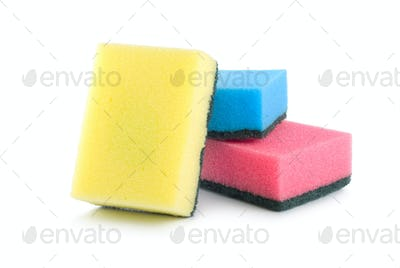 Three colored sponges isolated