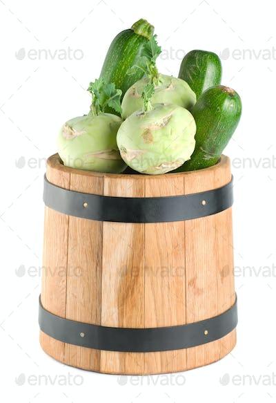 Vegetables in a wooden barrel