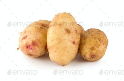 Raw potato isolated on a white