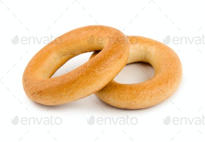 Two bagels isolated