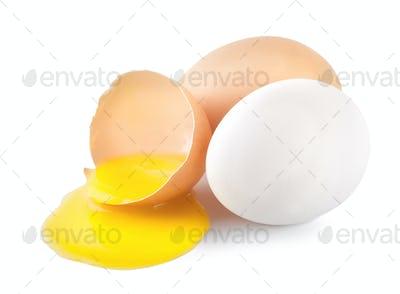 Broken eggs with a yellow yolk