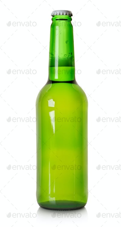 Beer in a green bottle isolated
