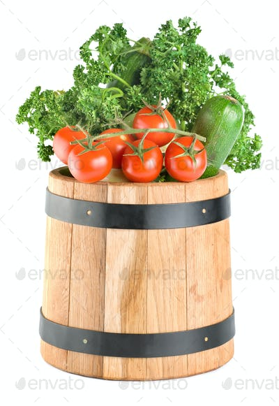 Barrel with vegetables