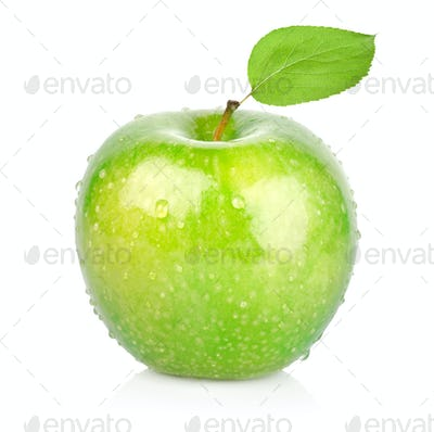 Green apple with a leaf