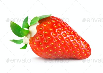 Strawberries with green leaves