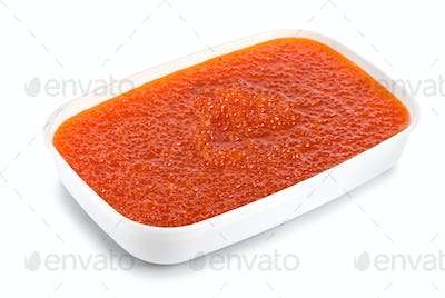 Red caviar in a plastic container