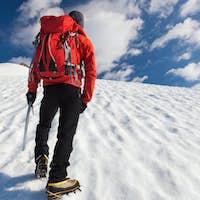 Mountaineer alone glacier