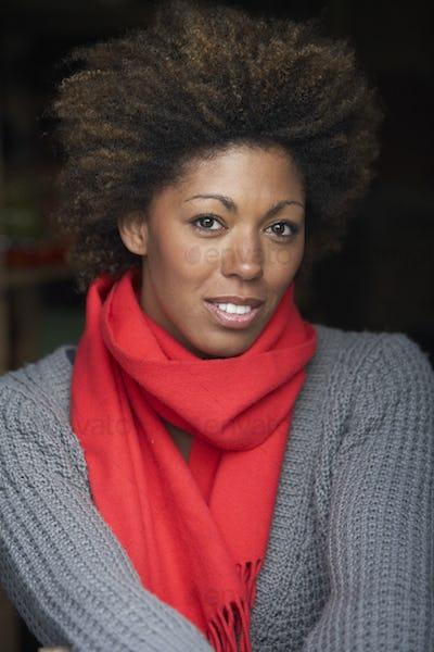 Portrait Of Beautiful Woman Wearing Scarf