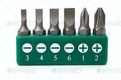 Set of heads for screwdriver