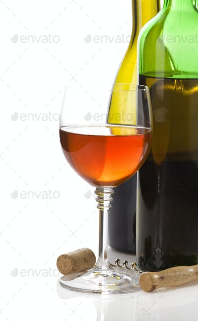 wine bottle and wineglasses