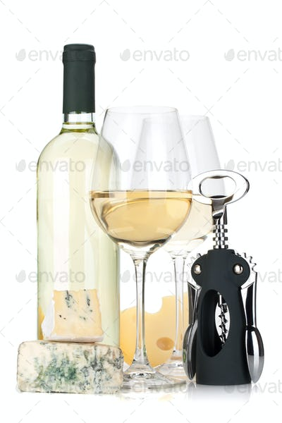 White wine bottle, two glasses, cheese and corkscrew