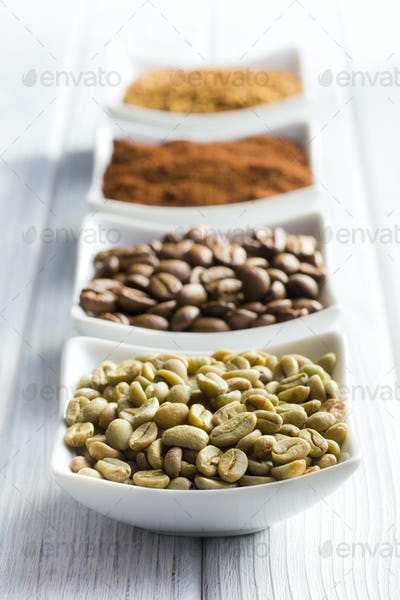 green, roasted, ground and instant coffee