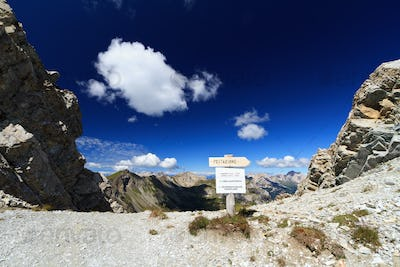 high Dolomites pass with directions