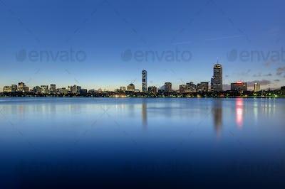 Boston back bay skyline seen at dawn