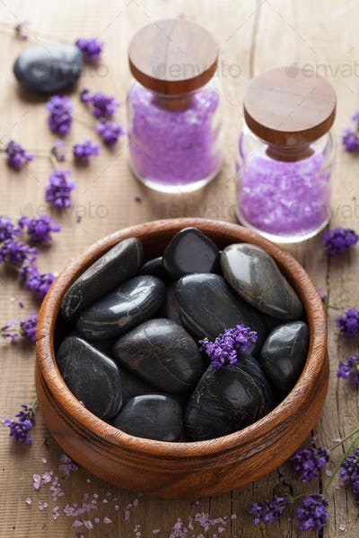 spa stones salt and lavender