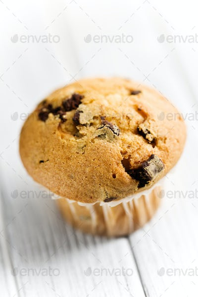 tasty muffin with chocolate