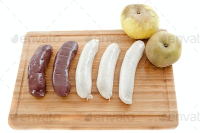 black pudding and white sausages