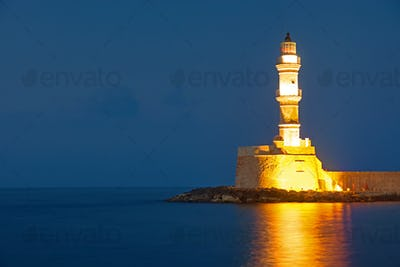 The lighthouse of Chania at night