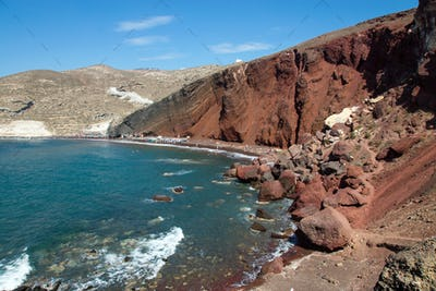 Red beach on Santorini island
