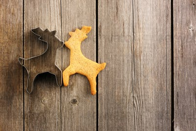 Christmas homemade gingerbread deer cookie