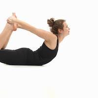 woman in lying yoga posture