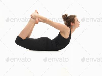 woman in lying yoga posture