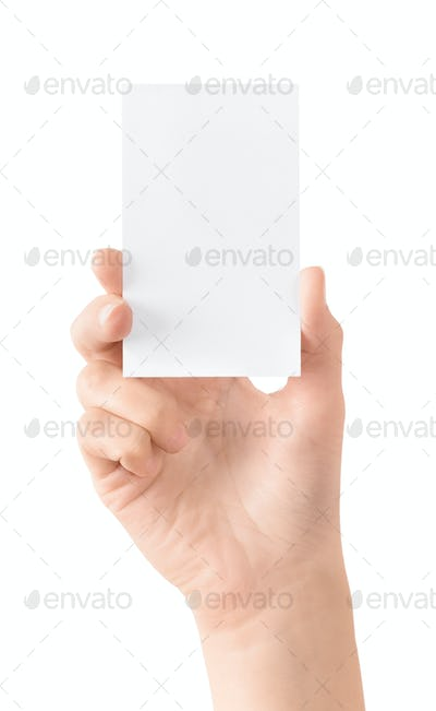 Blank visit card in hand isolated