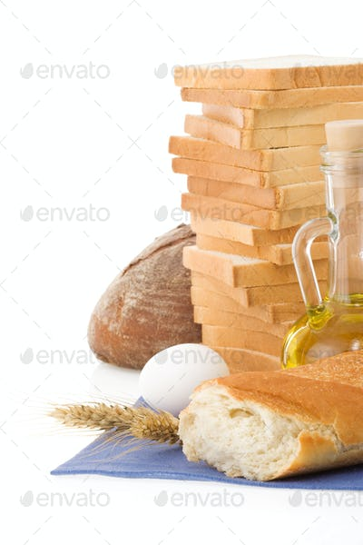 fresh bread on white background