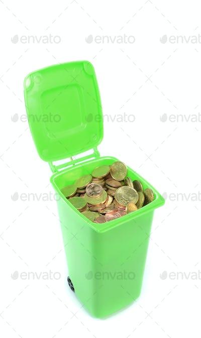 Green Wheelie Bin with Money