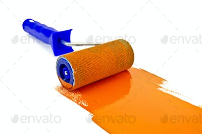 Roller with orange paint