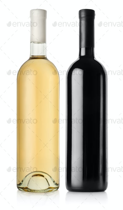 Bottle of red wine and white wine