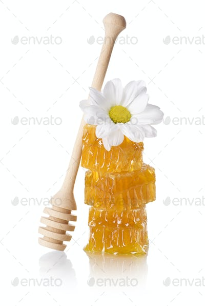 Honeycomb slice with honey dipper