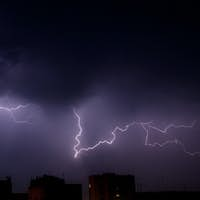 Bright branched lightning