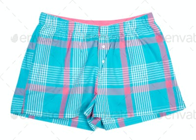 The blue plaid shorts