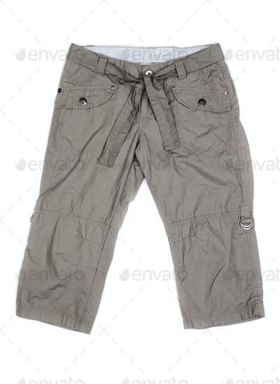 Women's summer cargo shorts isolated on white with natural shado