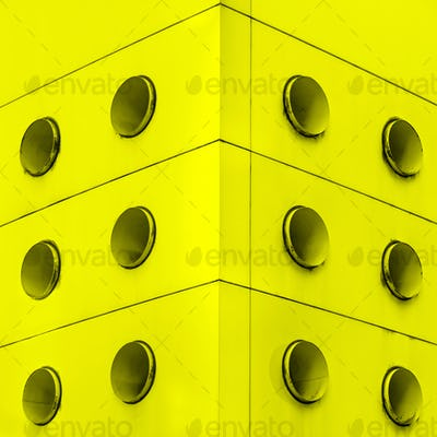 Yellow interior architecture abstract dirt vents.