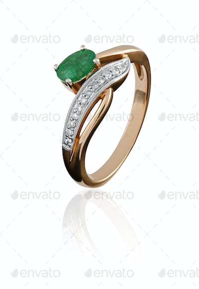 gold ring with an emerald