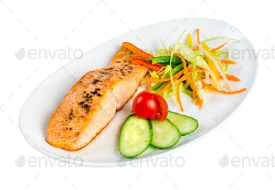 Tasty fillet of a salmon on a white