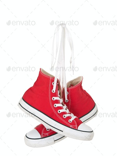 Vintage hanging red shoes
