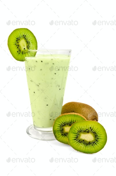 Milkshake with a kiwi