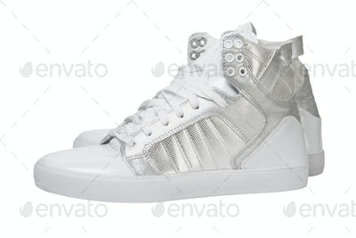 Trendy White Silver Shoes