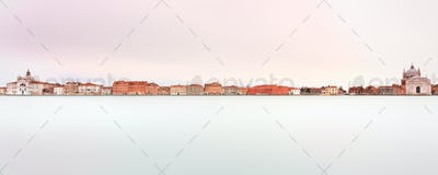 Venice, Giudecca Canal landmark. Panoramic Long exposure photogr