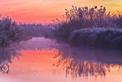 before sunrise on lake