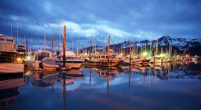 Seward Marina Alaska Waterfront Moored Boats Nautical Night