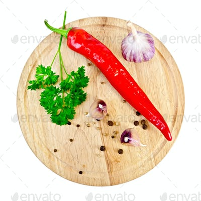 Spices on a round board