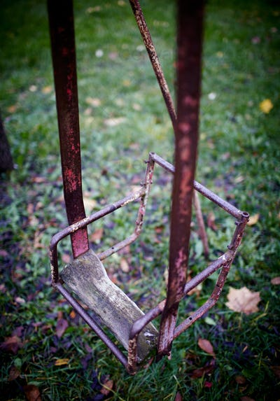 The broken child's swing.
