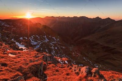 sunset in the Carpathian Mountains, Romania