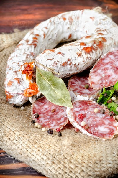 Salami sausage and spices