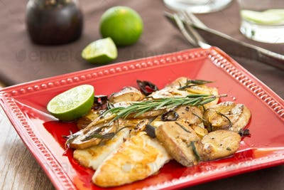 Grilled Dory fish with sautéed mushroom